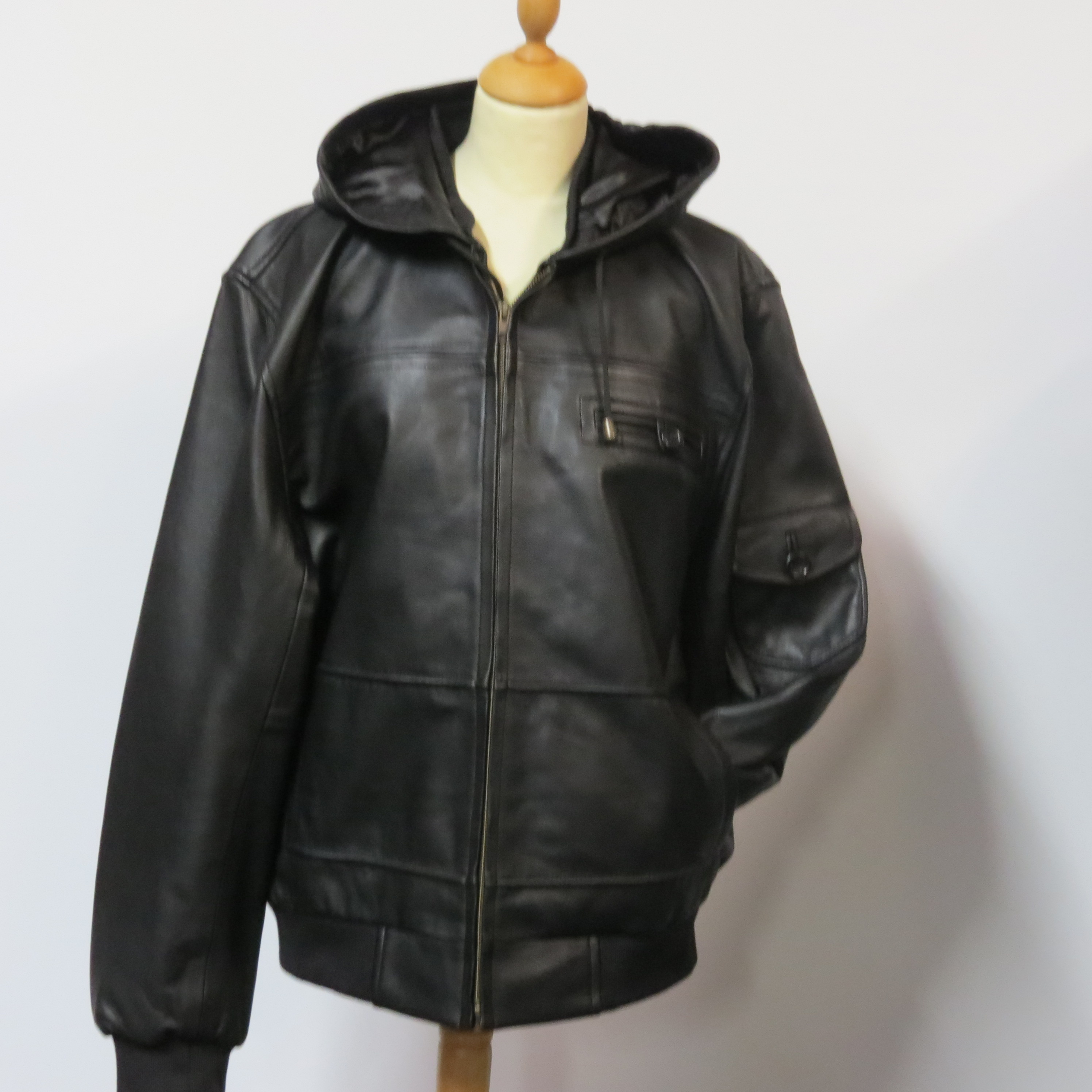 Kids hooded jacket nappa leather