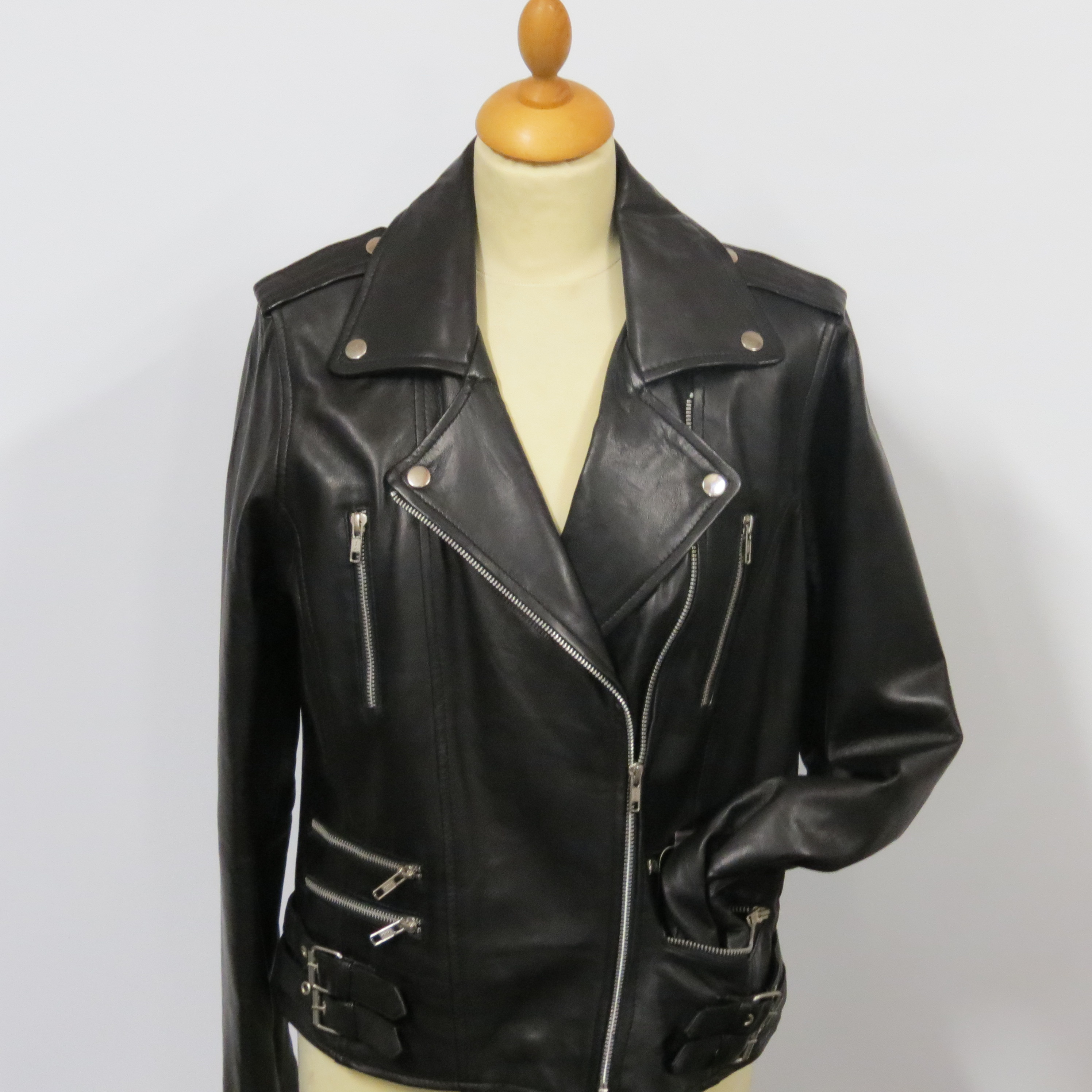 ladies bikers style 7113 soft black nappa leather