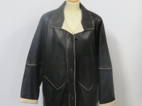 Ladies 3/4 length A1 grade nappa leather available in black with cream (pictured) or grey trim 3/4 L