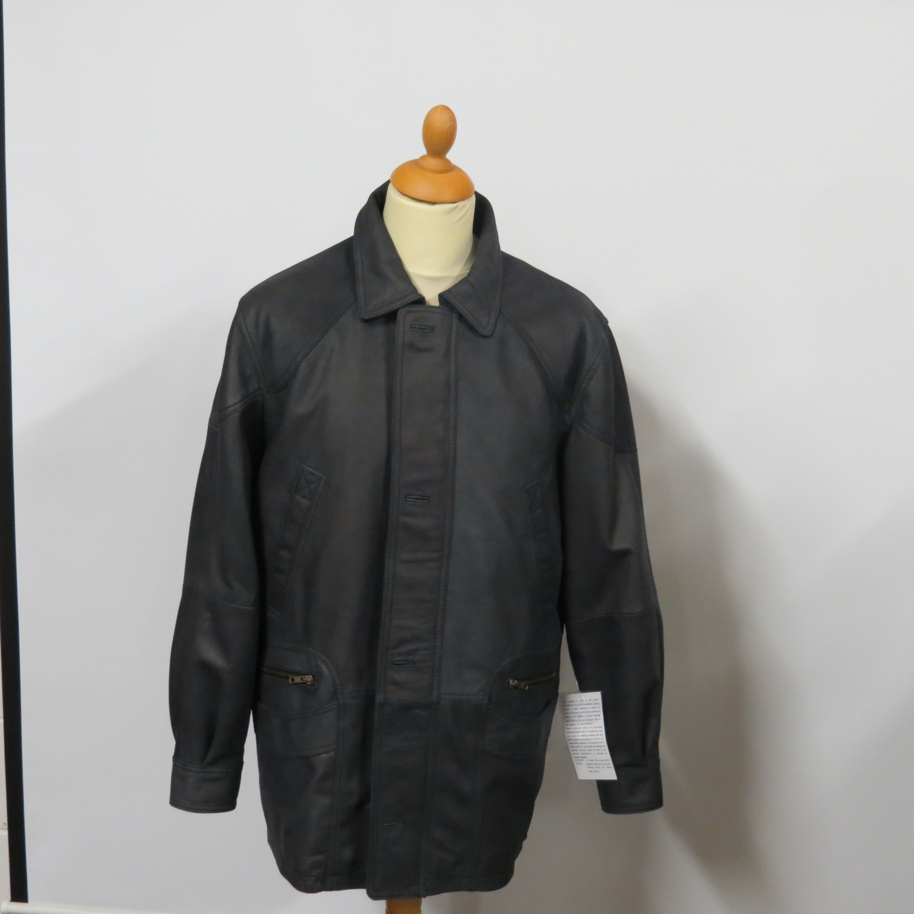 Mens 1439 3/4 length, charcoal soft buff leather, sizes small to 3XL