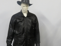 Mens 3/4 length, black nappa leather in sizes small to 4XL
